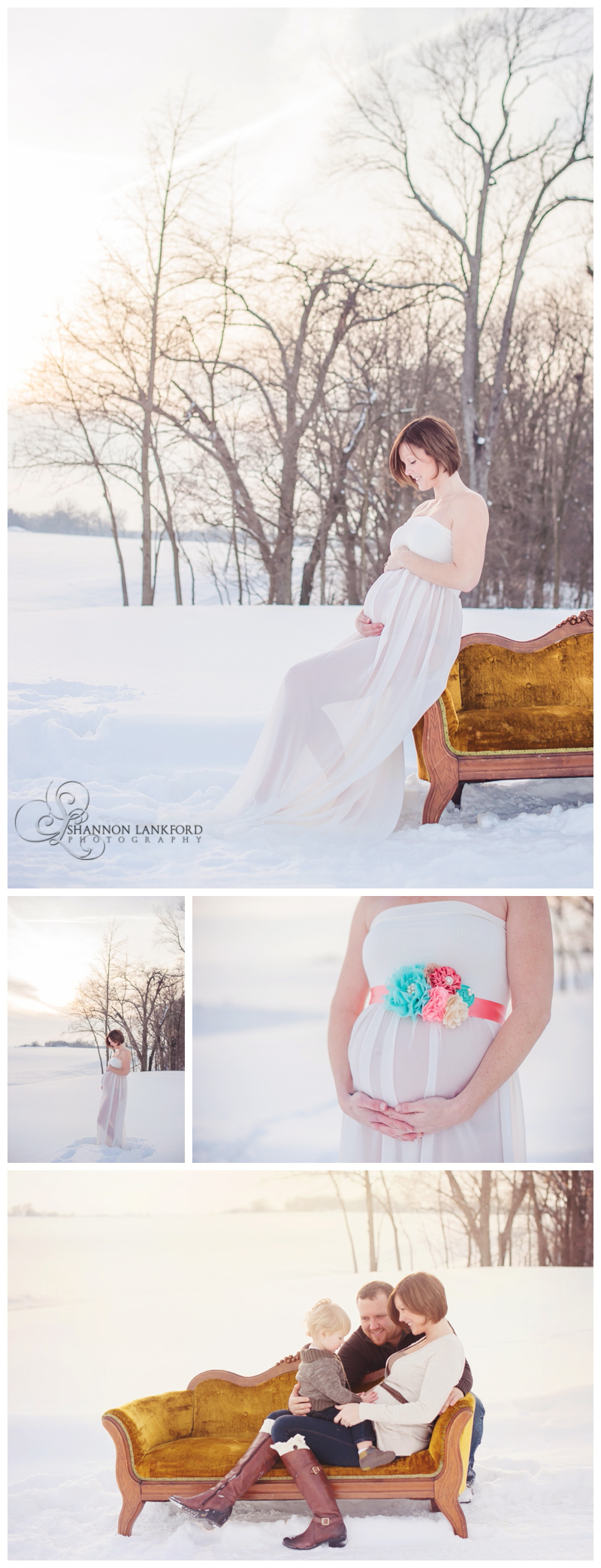 Outdoor Snow Maternity Portraits Shannon Lankford Photography White Gown