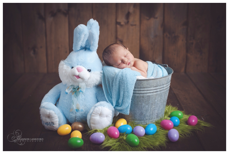 Easter baby blue newborn baby with easter eggs and stuffed bunny